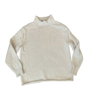J. Crew Always Cable Knit Mock Neck Cream Sweater Large